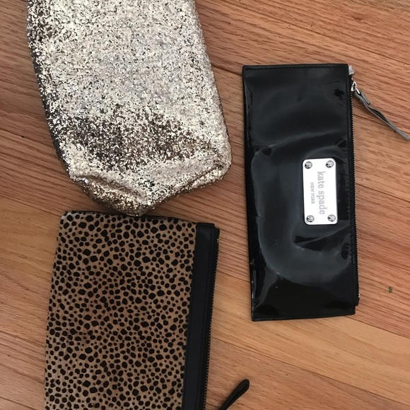 Party Clutches: Leopard/gold glitter/black patent